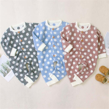 Christmas Newborn Baby Romper Knitted Baby Clothes Cotton Baby Girl Romper Polka Dot Infant Jumpsuit Toddler Boy Romper Overalls фото