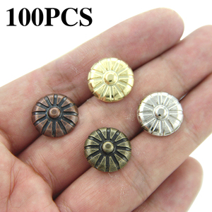 100Pcs Iron Upholstery Nail Antique Jewelry Case Box Sofa Decorative Tack Stud Pushpin Decorative Furniture Nails With Flower