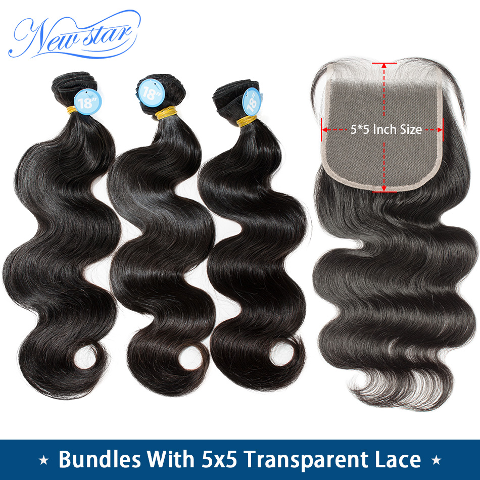 Transparent 5x5 Lace Closure With Bundles Brazilian Body Wave Raw Virgin Hair New Star 11A Thick Human Hair Weave And Closure
