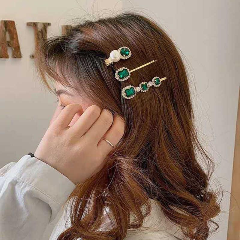 Mengjiqiao新韓国ヴィンテージグリーンクリスタルヘアピンエレガントな真珠のヘアクリップ女性ファッション夏休日の毛アクセサリー