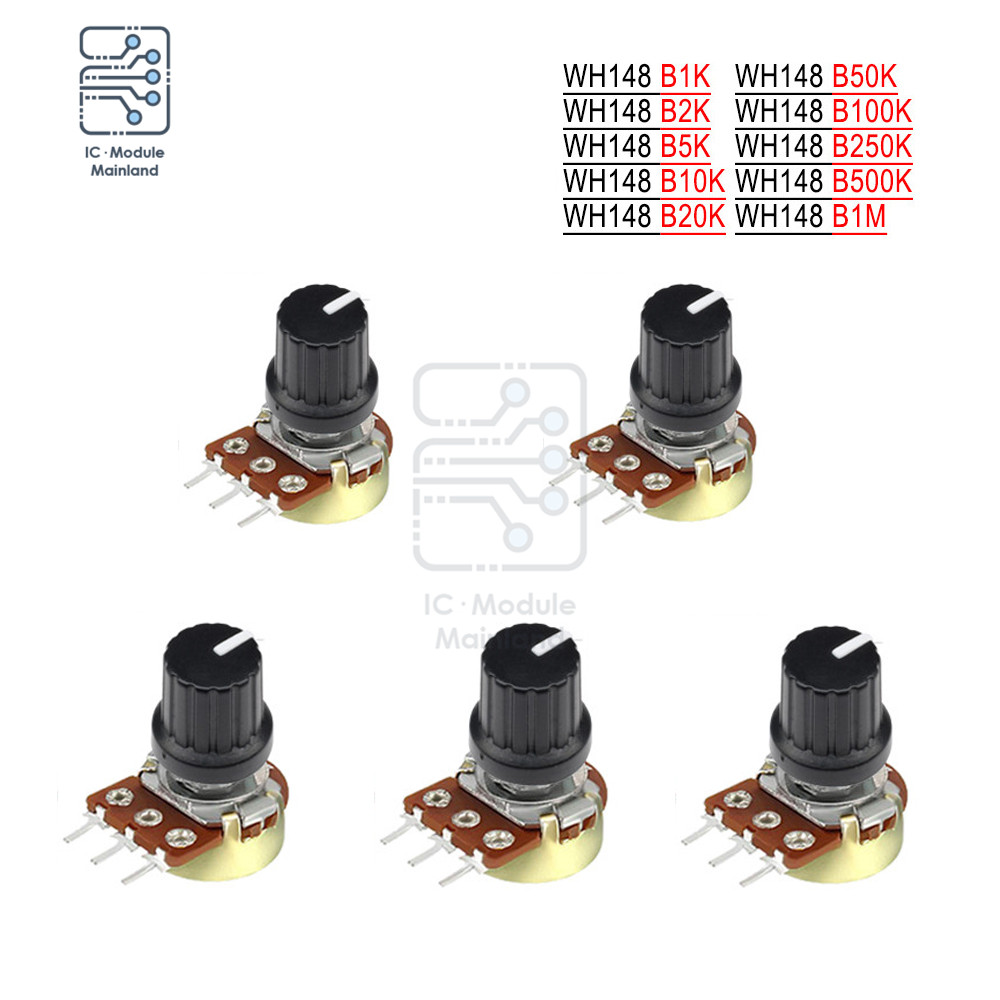 5 PCS/Lot Potentiometer Resistor 1K 2K 5K 10K 20K 50K 100K 500K Ohm 3 Pin Linear Taper Rotary Potentiometer for Arduino