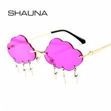 SHAUNA Ins Popular Rimless Sunglasses Women Clouds Lightning Tassel Sun Glasses