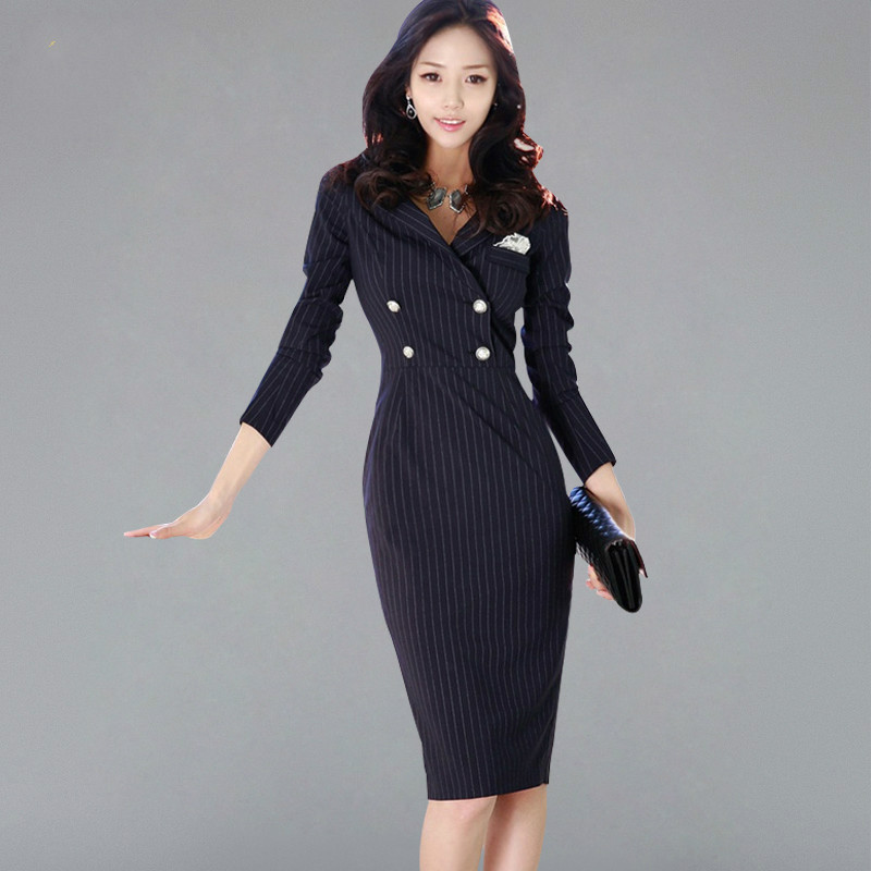 Double-breasted Striped Suits <font><b>Dress</b></font> Women <font><b>2018</b></font> Autumn Wear To <font><b>Work</b></font> Pencil Bodycon <font><b>Dresses</b></font> <font><b>Sexy</b></font> New Business Vestidos image