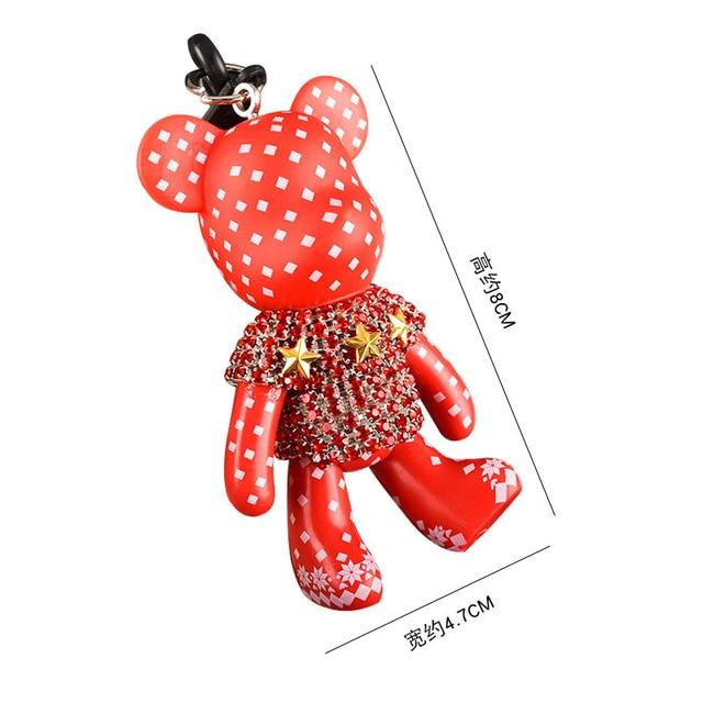 Handmade DIY Craft Rhinestone Cartoon Bomgom Bear Keychain Leather Rope Tassel Key Chain Gloomy Bag Charm Pendant Gift 1