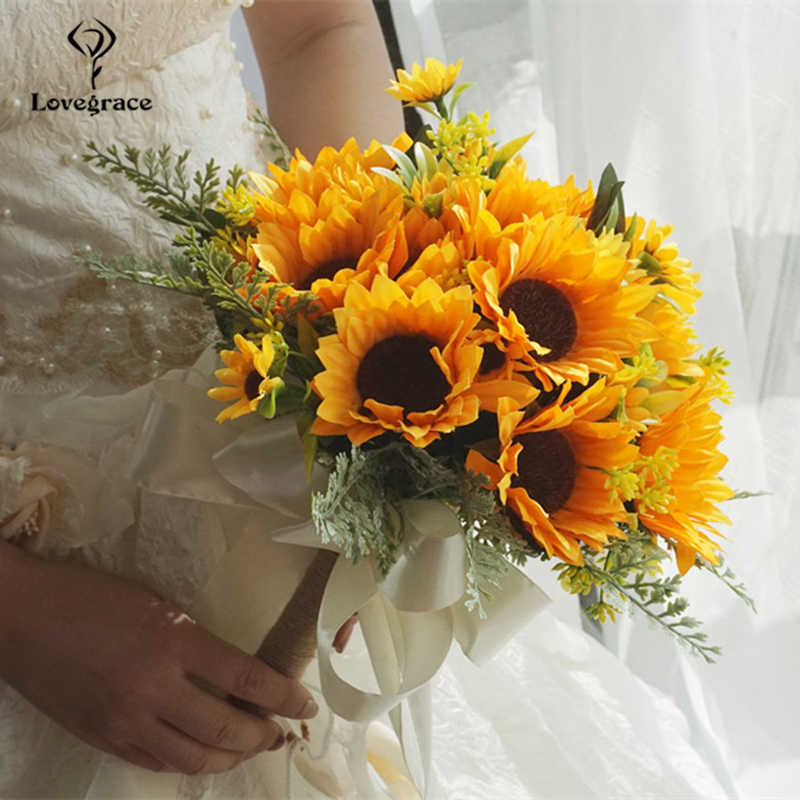 Silk Sunflowers Wedding Bouquet Flowers Marriage Accessories Small Bridal Bouquets Wedding Bouquets for Bridesmaids Decoration