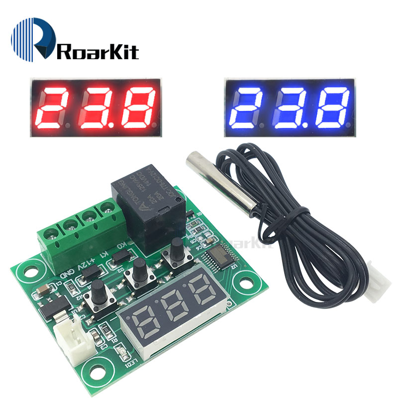 55-120C Blue 12V Heat Cool Thermostat Temperature High Low Alarm Control Switch
