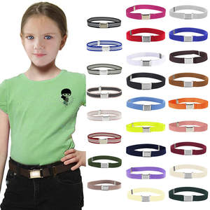 26 Colors Kids Toddler Belt Elastic Adjustable Stretch Unisex Belts Silver Square Buckle 2019 Hot Sale cinturón mujer All Season