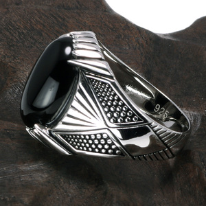 Image 2 - Guaranteed 925 Sterling Silver Rings Antique Turkey Ring For Men Black Ring With Stone Natural Onyx Turkish Male Jewelry
