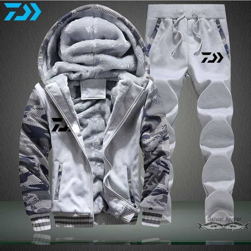 Daiwa Fishing Suit Keep Wram Long Sleeve Clothes Autumn Winter Men Thumbholes Windproof  Polyester Huting Hiking Fishing Jacket