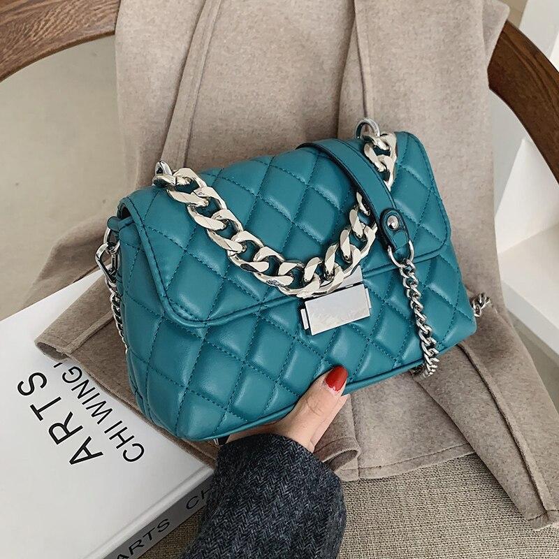 Женская сумка через плечо с серебряной цепочкой, брендовая дизайнерская модная сумка из искусственной кожи с откидной крышкой, новинка 2021, ...