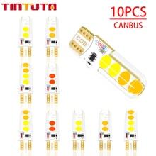10PCS W5W T10 LED Double color Strobe LED Flash LED 194 168 W5W COB 8SMD Led Parking Bulb Auto Wedge Clearance LampCANBUS  Silic