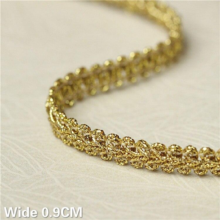 0,9 см в ширину, серебристый, золотистый; Полиэстер 3D кружевной отделкой лента одежда платье повязка на голову лямки лоскутное DIY ручной работ...