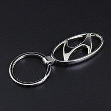 Alta-grade oco metal auto chaveiro para hyundai emblema homens mulheres cintura pendurado 4S loja presente pingente chaveiro acessórios do carro