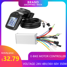 350W 24-48V/36-60V Motor Borstelloze Controller Lcd Display Panel Duim Throttle Elektrische fiets Scooter Borstelloze Controller Kit