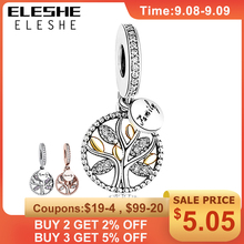 925 Sterling Silver FAMILY TREE SILVER DANGLE WITH 14K Gold CLEAR CUBIC ZIRCONIA CHARM Fit Pandora Bracelet DIY Jewelry Making geoki 925 sterling silver rose gold white cubic zirconia clover silicone safety chain fit original pandora bracelet leaf charm