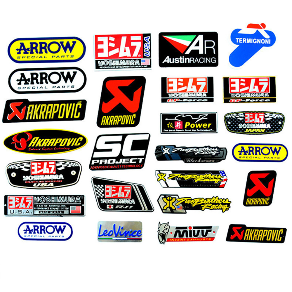 OLPAY Motorcycle Exhaust Pipes Decal Sticker Aluminium 3D Heat-resistant Decals Sticker For Scorpio Leovince Two Brother Arrow
