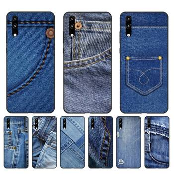 Yinuoda Jeans Style Blue Denim Shell Phone Case for Huawei Honor8X 8A 9 10 20 Lite 10i 20i 7A 7C P20 30 40 Lite