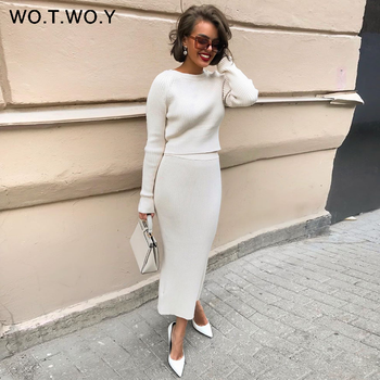 WOTWOY Knitted Sweater and Skirt Two Piece Set Women Autumn Slim Fit Crop Tops Women Sweater Skirts 2 Piece Sets Womens Outfits