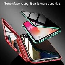 Dwustronna szklana adsorpcja magnetyczna etui na telefon dla iPhone XS MAX X XR obudowa metalowa pokrywa magnetyczna 360 pełna ochrona etui na telefon