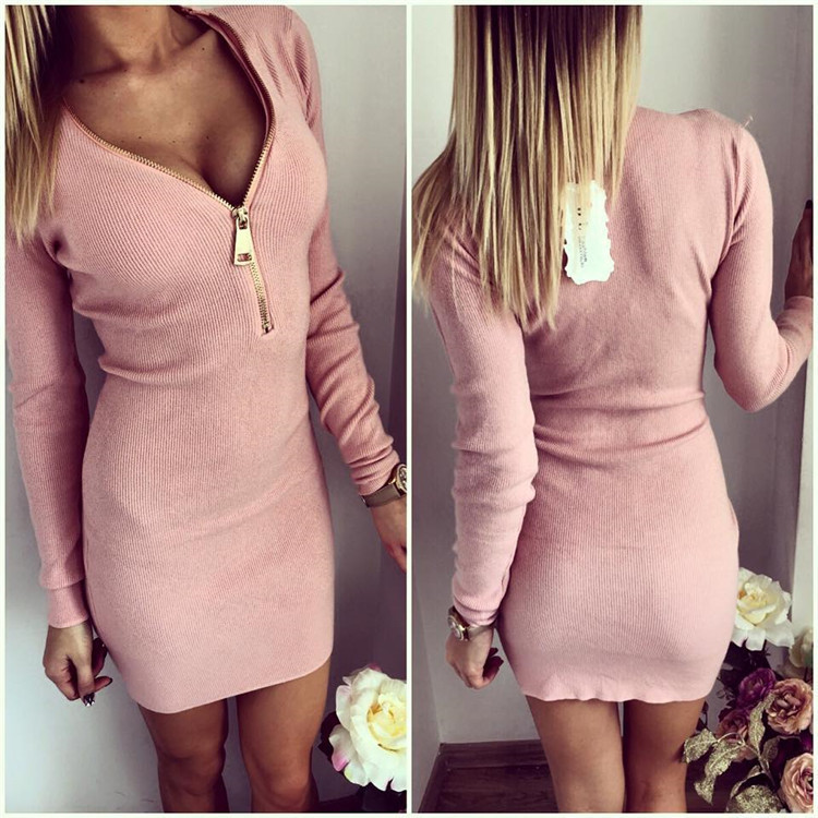Image 3 - Vestidos Knitting 2018 Women Dresses Zipper O neck Sexy Knitted Dress Long Sleeve Bodycon Sheath Pack Hip Dress Vestidos-in Dresses from Women's Clothing