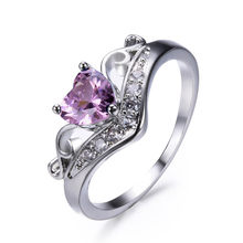 new crown temperament heart-shaped ring cross-border selling lady fashion jewelry ring in Europe and the United States(China)