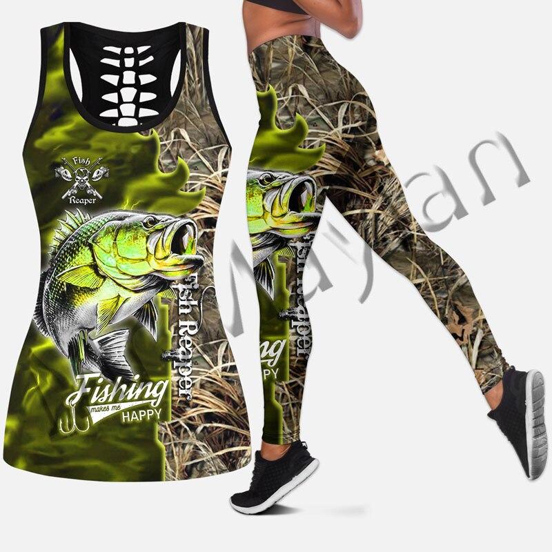 Tanktop e Leggings para Impressão Novo Peixe Reaper Animal Moda Feminina Oco 3d Hipster Lazer Feminino Sexy Colete Roupas Stil-4