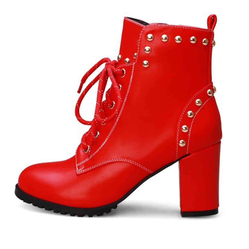 Karinluna 2019 ขนาดใหญ่ 43 top elegant rivets ผู้หญิงรองเท้าหญิงรองเท้า shoelaces รองเท้าส้นสูงข้อเท้ารองเท้าผู้หญิงรองเท้า