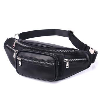 2021 New Women Waist Bag Genuine Leather Sheepskin Messenger Bag Female Phone Pouch Chain Chest Belt Bags Multi-function Packs