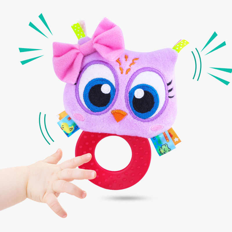 Baby Infant Plush Rattle Stuffed Toy Hand Grasp Teethers Cute Animal Handbell Ring Newborns Early Development Boys Girls Gift