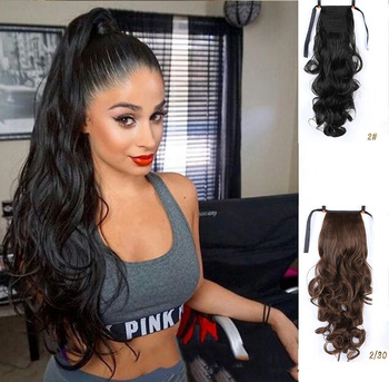 MUMUPI Long Curly Ponytail Heat Resistant Clip In Tail  Hair Extensions  Wrap on Hair Hair Ponytails Hair Piece 1