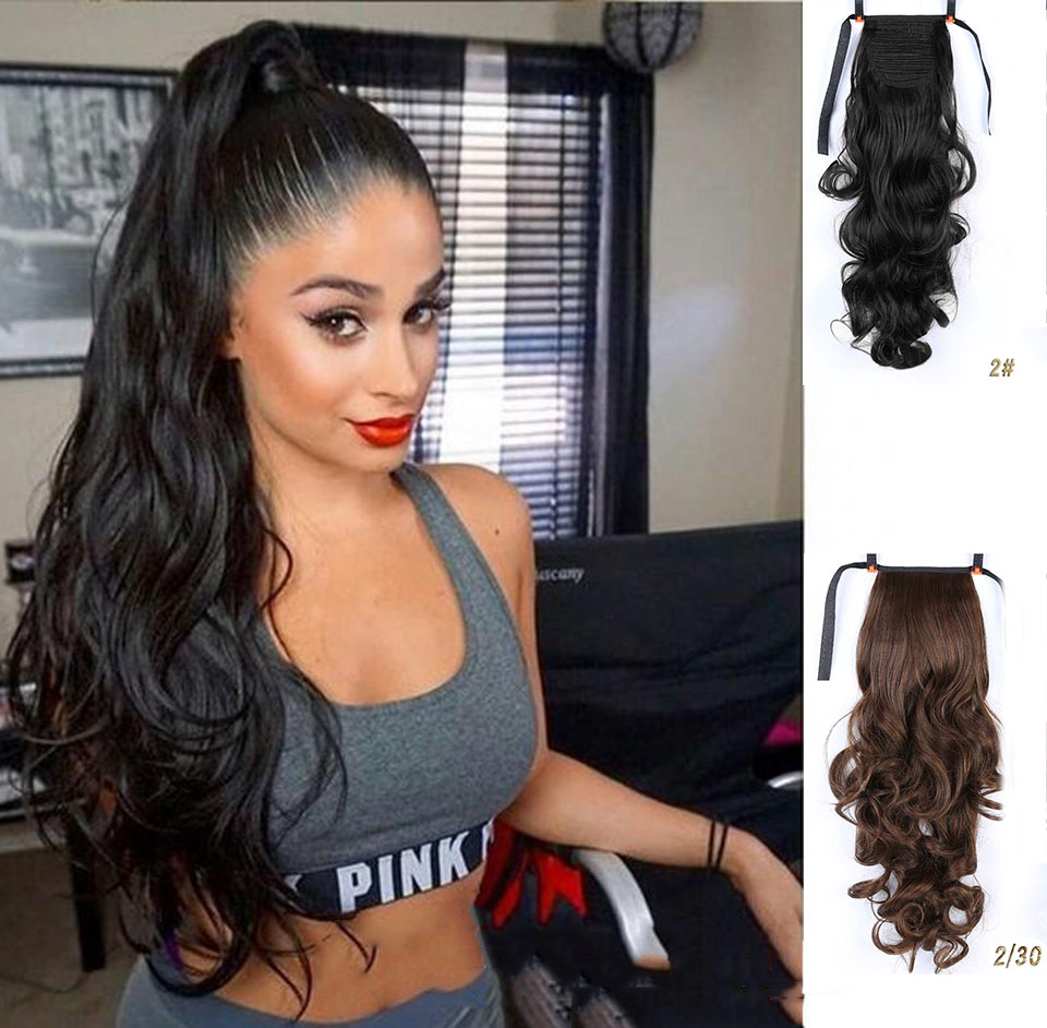 MUMUPI Long Curly Ponytail Heat Resistant Clip In Tail  Hair Extensions  Wrap On Hair Hair Ponytails Hair Piece