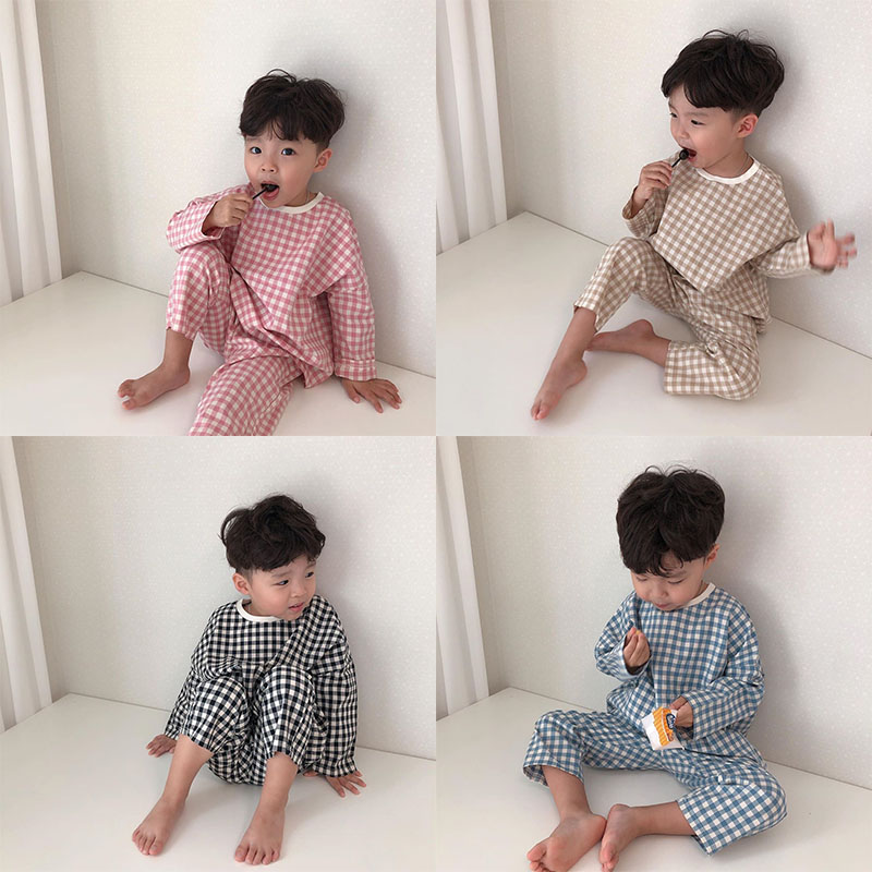 6M-3T Toddler Newborn Infant Baby Girls Boys Clothes Set Autumn Long Sleeve T-shirt+ Pants Outfits Plaid Baby Clothing