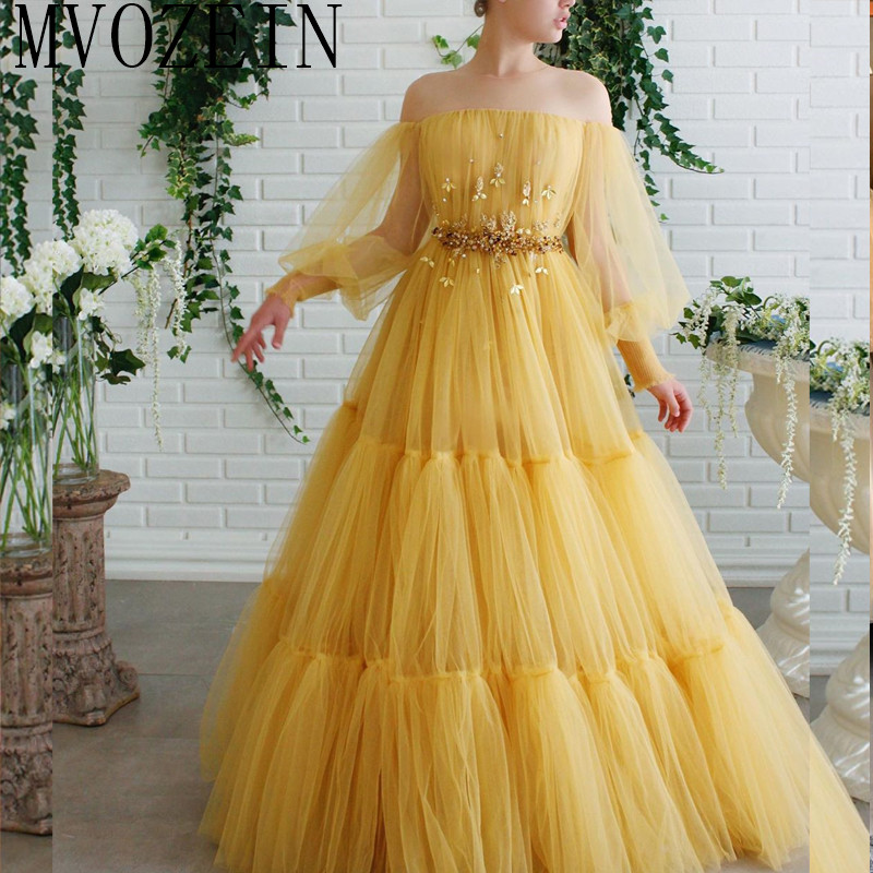 Yellow Long Evening Dress Vestido De Festa Longo Robe De Soiress Sleeve Off The Shoulder Evening Dresses Abendkleider