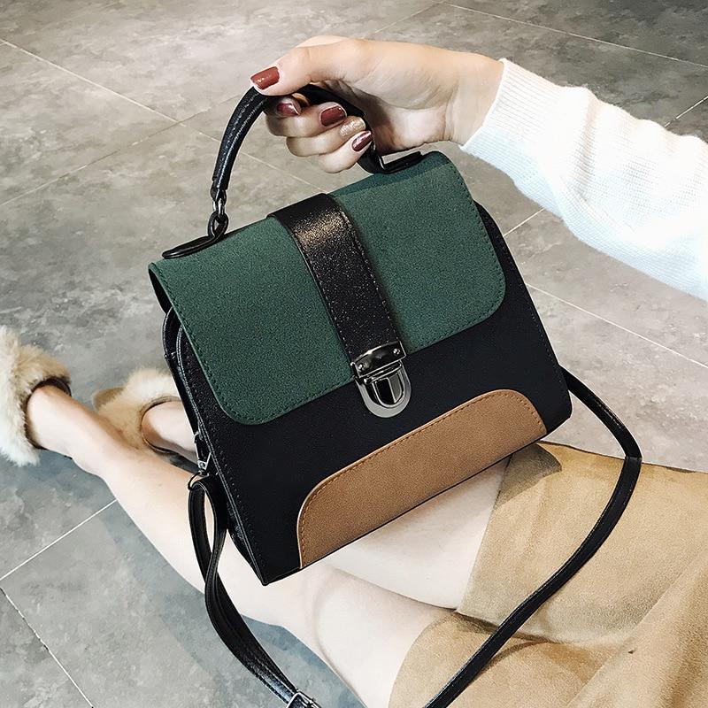 Women Vintage Crossbody Bag European Female Small Hasp Tote Bag 2019 New High Quality Pu Leather Handbag Panelled Shoulder Bags