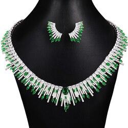 Женский набор украшений GODKI, зеленый комплект свадебных украшений из кубического циркония и серег, 2020