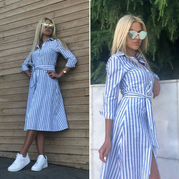 2021 Women Casual Blue Striped Sashes Dress Lady Seven Sleeve Turn-Down Collar A-line Dress Vintage Elegant Autumn Women Dresses 1