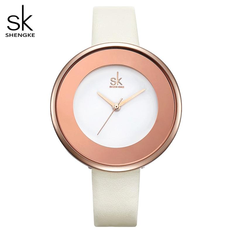 Shengke Brand Luxury Watch Women Leather Wristwatch Top Brand Quartz Watch Fashion Watch Ultra Thin Belt Hot Clock Reloj Mujer