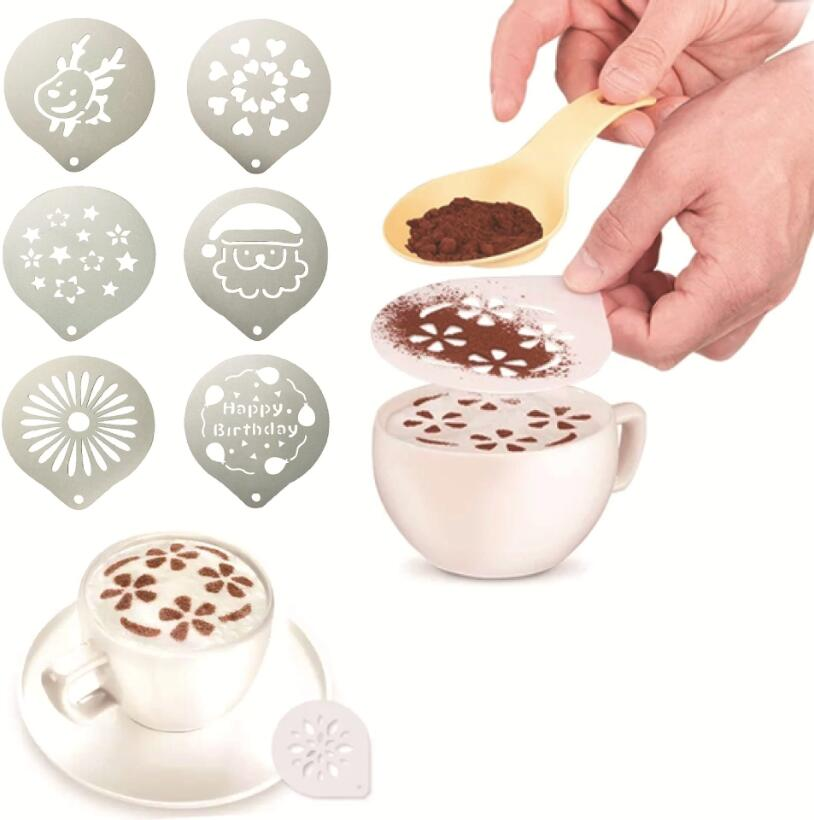Stainless Steel Coffee Stencil Mold Powder Sugar Sifter Filter Coffee Pattern Template Cappuccino Latte Milk Barista Molds