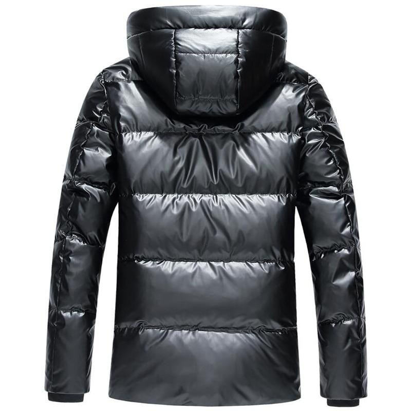 Para baixo Homens Jaqueta Curta 2019 Novos Homens Casaco de Inverno Parka Quente Grosso Com Capuz 90% de pato Branco Para Baixo Homens Jaqueta Impermeável roupas - 2