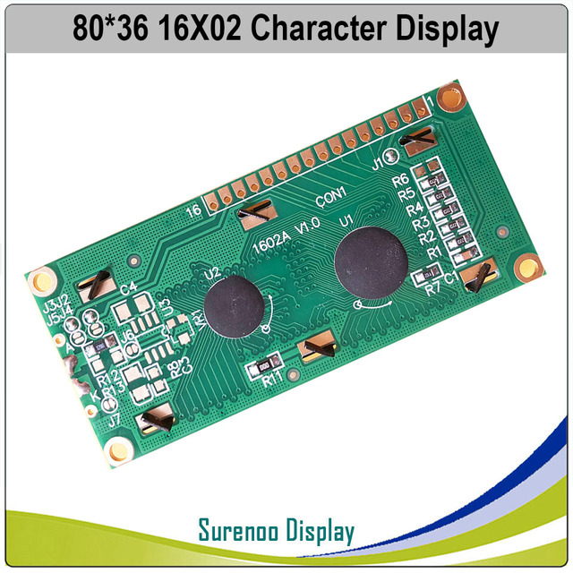 162 1602 16X2 Character LCD Module Display Screen LCM Red/Green/Blue/White/Orange/Yellow on FSTN Negative Black Background 2