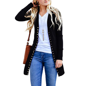 Image 5 - The new 2019 ms autumn render joker cardigan long sleeved jacket unlined upper garment of rivet sexy fashion
