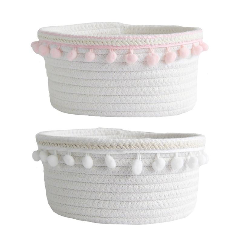 2Pcs Ball Cotton Rope Woven Storage Basket Desktop Cosmetics Storage Basket Nordic Style Debris Storage Box Pink & White