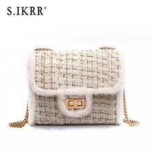 S.IKRR Winter Tweed Chain Handbag New Brand Mini Crossbody Bags For Women 2019 Female Shoulder Messenger Bag Luxury Designer Bag цена в Москве и Питере