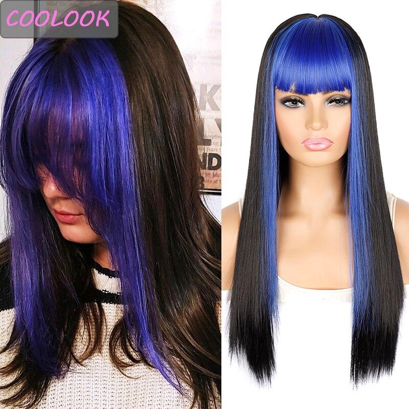Лолита синий парик для Для женщин 24 дюймов черные длинные прямые парики с челкой обе стороны синего цвета волос Синтетические накладные волосы Косплэй розовые парики