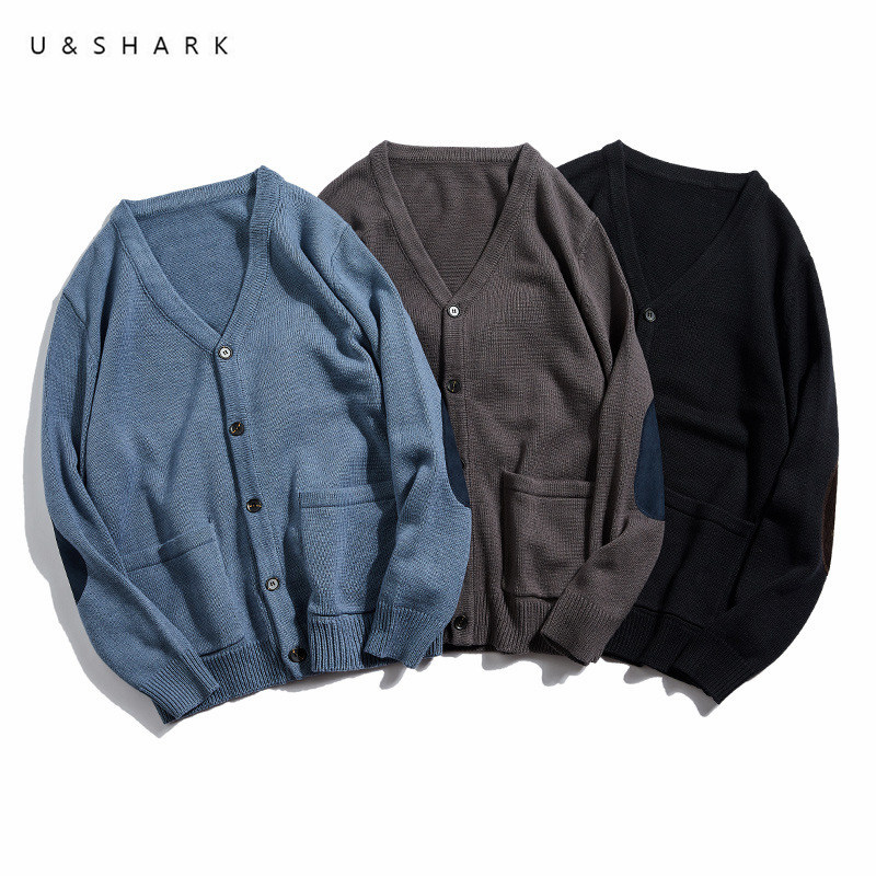 U&SHARK Patch Design V-Neck Cardigan Casual Sweater Men Soft Comfortable Spring Basic Color Leisure Sweater Knitted Coat Male