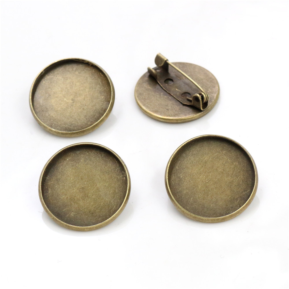 10pcs 20mm Inner Size Antique Bronze Brooch Style Cabochon Base Setting Charms Pendant (D3-52)