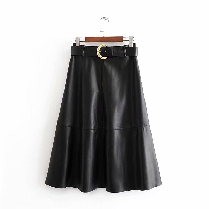 Women Fashion Autumn PU Leather Black Midi Skirt With Belt Elegant Streetwear A Line Loose  Office Retro Solid Ladies Skirts