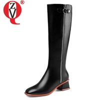 ZVQ winter new fashion sexy knee high boots outside comfortable mid heels genuine leather square toe women shoes drop shipping