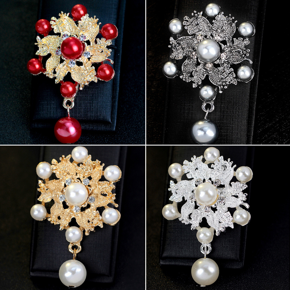 Joker alloy brooch Pearl Pendant dress scarf buckle Korea fashion flower collar pin