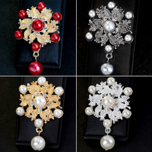 Joker alloy brooch Pearl Pendant brooch dress scarf buckle Korea fashion Pearl flower brooch collar pin